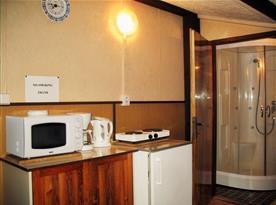 Kuchyně s rychlovarnou konvicí, kávovarem, mikrovlnnou troubou a lednicí
