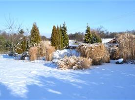 Zahrada chalupy pod sněhem