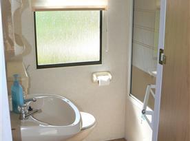 Koupelna se sprchou, toaletou a umyvadlem