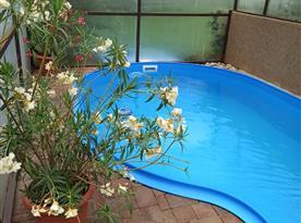 Krytý, vyhřívaný bazén s protiproudem