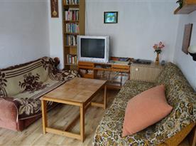 Obývací pokoj s pohovkou, stolkem, knihovničkou, televizí a lampičkou