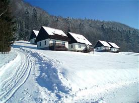 Rekreační domky v zimě