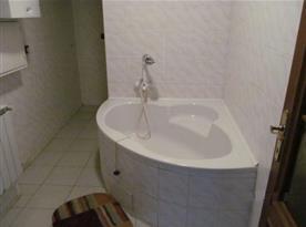 Koupelna s rohovou vanou, sprchou a umývadlem