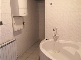 Koupelna s rohovou vanou, sprchou a umyvadlem