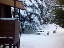 Chata v zimě
