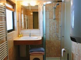 Dolní koupelna se sprchovým koutem a wc