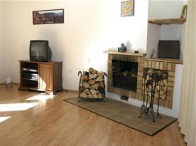 Obývací pokoj s krbem a televizí