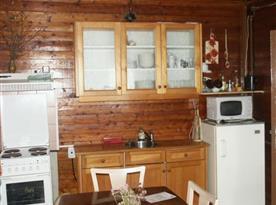 Kuchyňka se sporákem, lednicí, mikrovlnou troubou a rychlovarnou konvicí