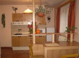 Kuchyňka se sporákem, lednicí a mikrovlnou troubou