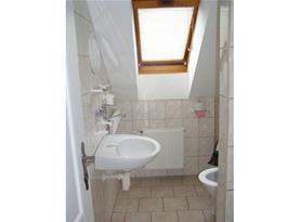 sociální zařízení s toaletou a umyvadlem a sprch. koutem