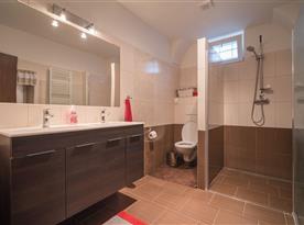 Koupelna se sprchou, umyvadly a toaletou