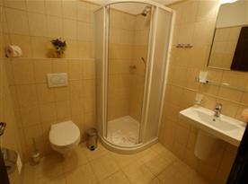 """Koupelna se sprchovým koutem a WC v """"Medovém"""" pokoji"""