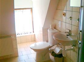 Koupelna se sprchovým koutem v patře