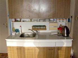 Kuchyně se sporákem, lednicí, varnou konvicí