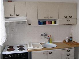 Kuchyně s lednicí, sporákem, mikrovlnnou troubou a rychlovarnou konvicí