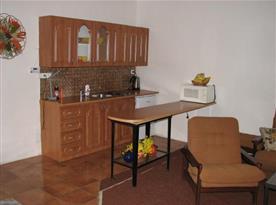 Kuchyně s linkou, elektrickým vařičem, lednicí, mikrovlnou troubou a rychlovarnou konvicí