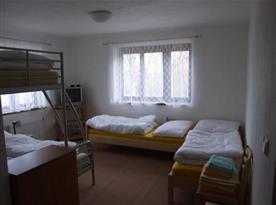 Pokoj s lůžky a televizí