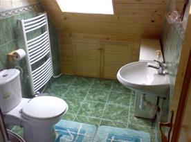 Sociální zařízení v podkroví se sprchovým koutem