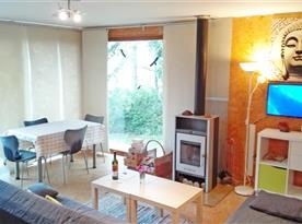 Obývací pokoj s posezením u krbových kamen.