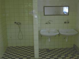 Pohled na sociální zařízení se sprchou a umyvadly