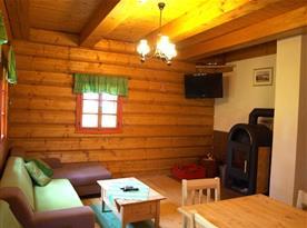 Obývací pokoj s posezením, televizí a krbovými kamny