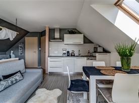 Pohled na podkrovní pokoj s kuchyňským koutem, jídelním stolem a relaxační částí