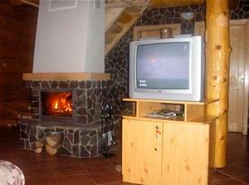 Společenská místnost s krbem a televizí