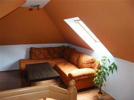 Společenská místnost s pohovkou a televizí