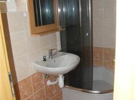 Koupelna se sprchouvým koutem a umyvadlem v přízemí