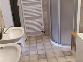 Koupelna se sprchou a umyvadly