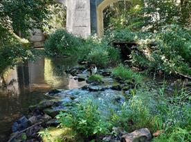 Řeka Oleška a patrový viadukt