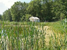 Pohled na stan z poza jednoho z rybníků