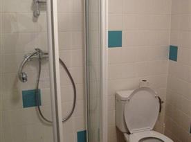 Koupelna v přízemí se sprchovým koutem a toaletou