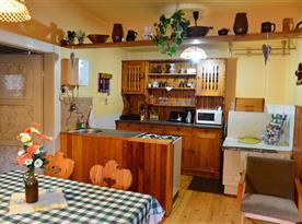 Kuchyně s kuchyňským pultem, sporákem, lednicí a mikrovlnnou troubou