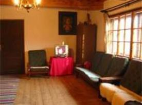 Společenská místnost  se sedačkou, televizí a krbem