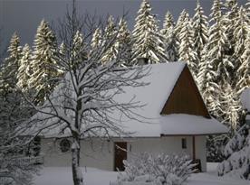 Pohled na zasněženou chatu