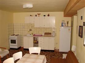 Kuchyně s linkou, sporákem, lednicí, mikrovlnnou troubou a rychlovarnou konvicí