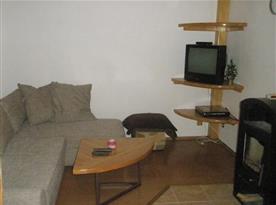 Společenská místnost se sedací soupravou, krbovými kamny a televizí